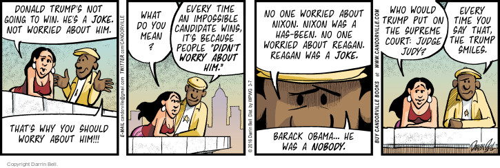 Comic Strip Darrin Bell  Candorville 2016-03-07 Reagan