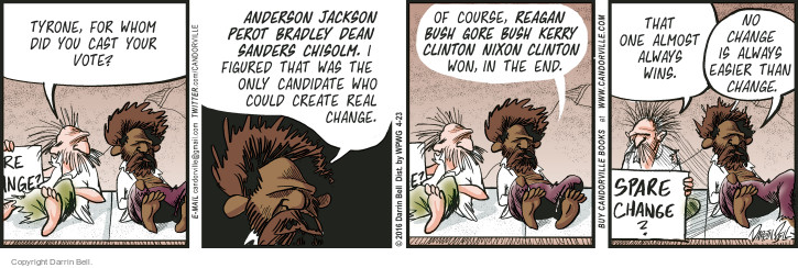 Comic Strip Darrin Bell  Candorville 2016-04-23 Clinton