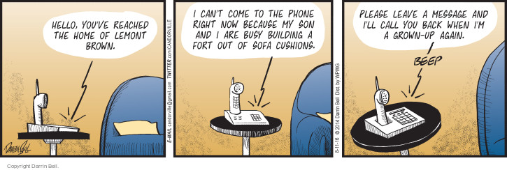 Cartoonist Darrin Bell  Candorville 2016-08-11 phone call