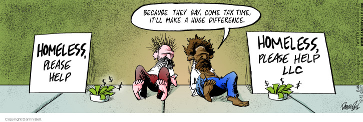 Comic Strip Darrin Bell  Candorville 2017-12-12 tax liability