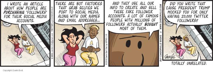 Cartoonist Darrin Bell  Candorville 2018-02-06 social media politics