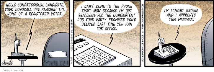 Comic Strip Darrin Bell  Candorville 2018-08-10 phone home