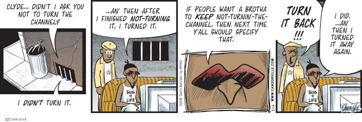 Comic Strip Darrin Bell  Candorville 2019-05-14 watch television