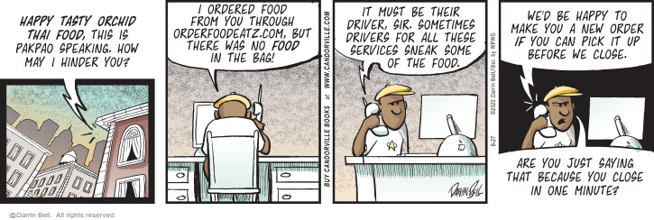 Comic Strip Darrin Bell  Candorville 2020-06-27 take-out restaurant