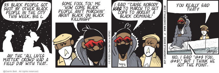Comic Strip Darrin Bell  Candorville 2021-01-15 shooting