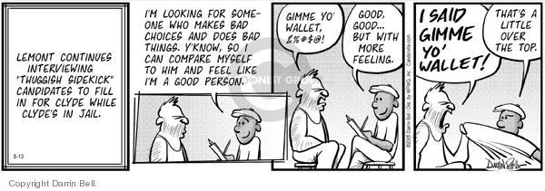 Cartoonist Darrin Bell  Candorville 2005-08-13 aggression
