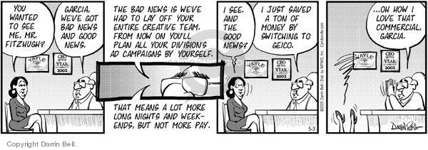 Comic Strip Darrin Bell  Candorville 2005-05-03 good news bad news