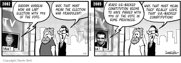 Comic Strip Darrin Bell  Candorville 2005-11-05 Saddam