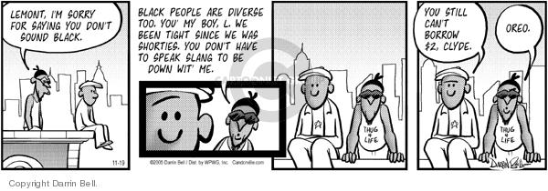 Cartoonist Darrin Bell  Candorville 2005-11-19 language