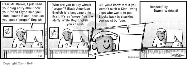 Cartoonist Darrin Bell  Candorville 2005-11-28 language
