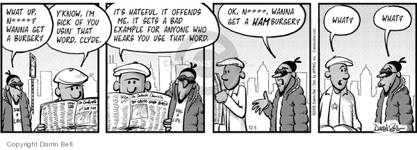 Comic Strip Darrin Bell  Candorville 2005-12-05 hamburger