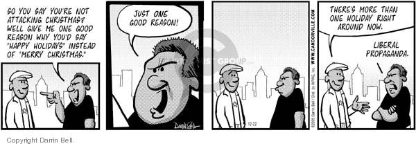 Cartoonist Darrin Bell  Candorville 2005-12-23 Merry Christmas