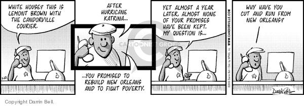 Comic Strip Darrin Bell  Candorville 2006-07-20 Hurricane Katrina