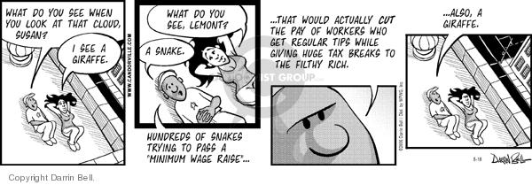 Cartoonist Darrin Bell  Candorville 2006-08-18 minimum tax
