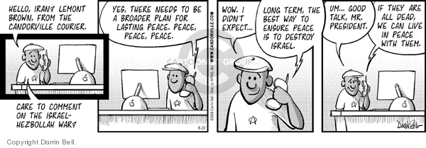 Comic Strip Darrin Bell  Candorville 2006-08-22 Iran Israel