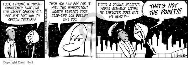 Comic Strip Darrin Bell  Candorville 2007-10-18 health insurance