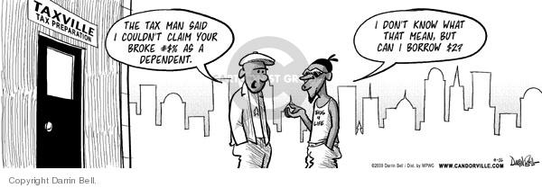 Comic Strip Darrin Bell  Candorville 2008-04-16 tax preparation