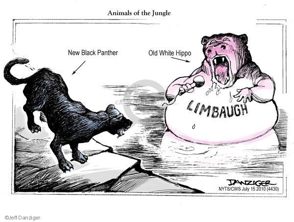 Animals of the Jungle. New black panther. Old white hippo. Limbaugh.