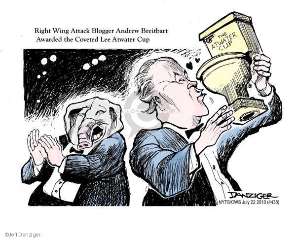 Right Wing Attack Blogger Andrew Breitbart Awarded the Coveted Lee Atwater Cup. The Atwater Cup.