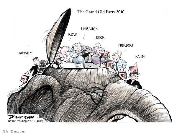 Cartoonist Jeff Danziger  Jeff Danziger's Editorial Cartoons 2010-09-02 party loyalty