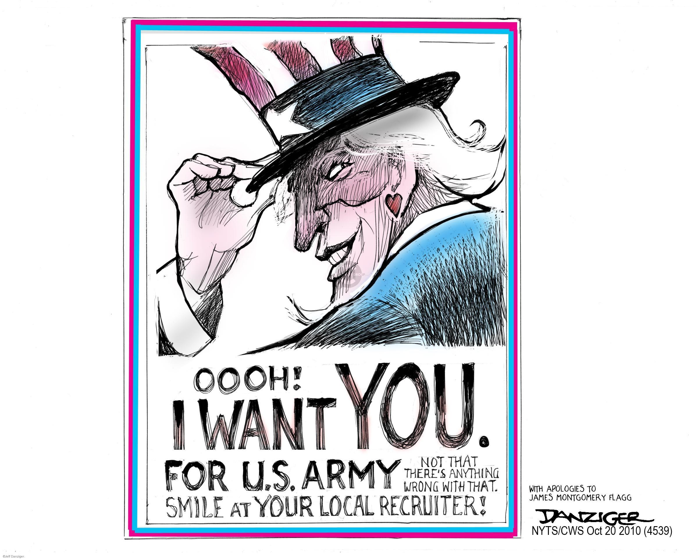Cartoonist Jeff Danziger  Jeff Danziger's Editorial Cartoons 2010-10-20 military recruit