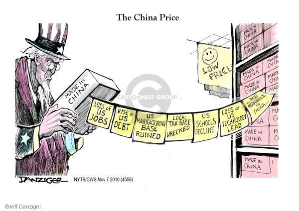 The China Price.  Low prices.  Made in China.  Loss of US jobs.  Rise in US debt.  US manufacturing base ruined.  Local tax base wrecked.  US school decline.  Loss of US technology lead.  And meanwhile in China…
