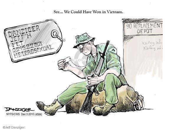 Cartoonist Jeff Danziger  Jeff Danziger's Editorial Cartoons 2010-12-03 don't ask don't tell