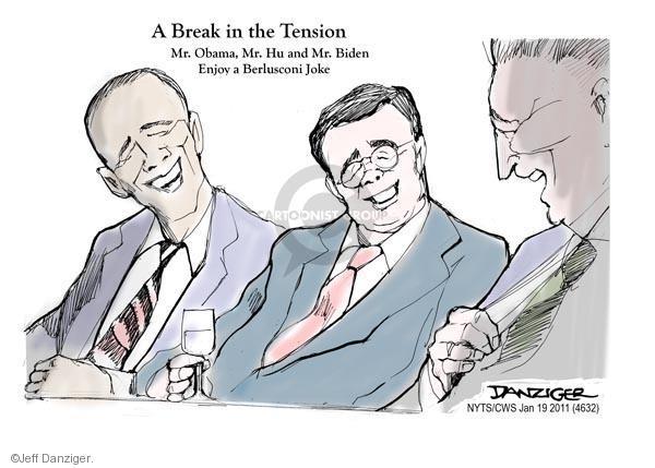 A Break in Tension. Mr. Obama, Mr. Hu and Mr. Biden Enjoy a Berlusconi Joke.