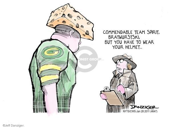 Cartoonist Jeff Danziger  Jeff Danziger's Editorial Cartoons 2011-01-28 football player