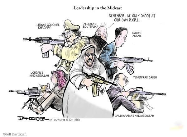 Cartoonist Jeff Danziger  Jeff Danziger's Editorial Cartoons 2011-02-13 leadership