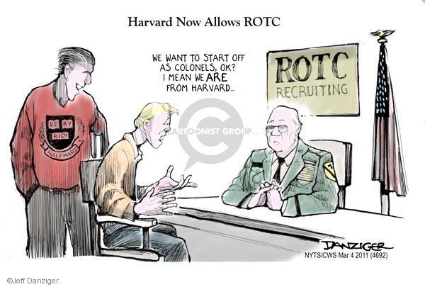 Cartoonist Jeff Danziger  Jeff Danziger's Editorial Cartoons 2011-03-04 military recruit