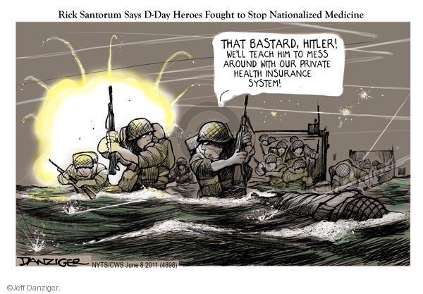 Cartoonist Jeff Danziger  Jeff Danziger's Editorial Cartoons 2011-06-08 normandy