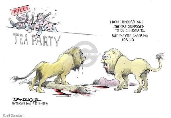 Cartoonist Jeff Danziger  Jeff Danziger's Editorial Cartoons 2011-09-17 party loyalty