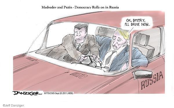Jeff Danziger  Jeff Danziger's Editorial Cartoons 2011-09-25 Dmitry Medvedev