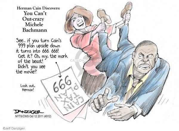 Cartoonist Jeff Danziger  Jeff Danziger's Editorial Cartoons 2011-10-12 Michele Bachmann