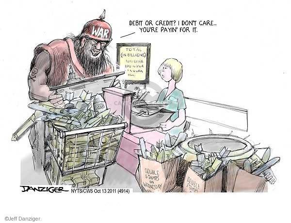 Jeff Danziger  Jeff Danziger's Editorial Cartoons 2011-10-13 defense spending
