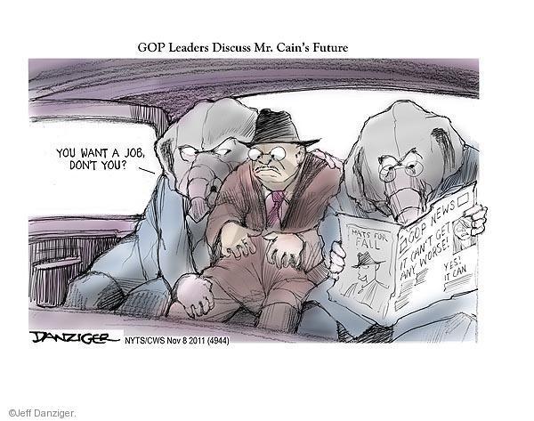 Cartoonist Jeff Danziger  Jeff Danziger's Editorial Cartoons 2011-11-08 candidates republicans