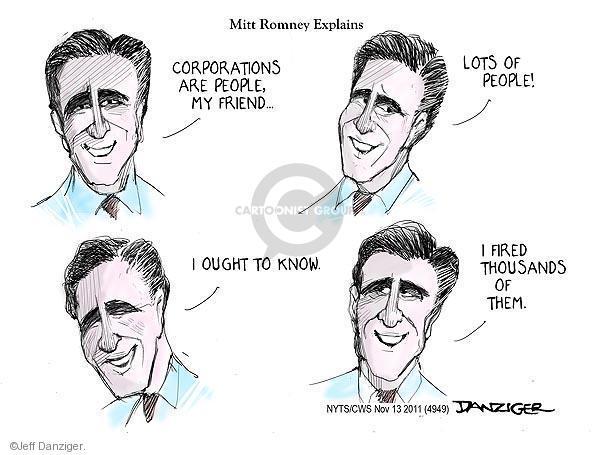 Cartoonist Jeff Danziger  Jeff Danziger's Editorial Cartoons 2011-11-13 candidates republicans