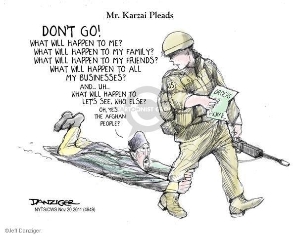 Cartoonist Jeff Danziger  Jeff Danziger's Editorial Cartoons 2011-11-20 withdrawal