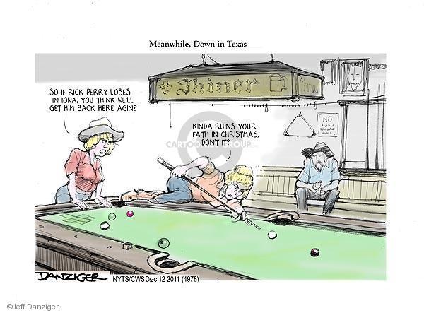 Cartoonist Jeff Danziger  Jeff Danziger's Editorial Cartoons 2011-12-12 Texas governor