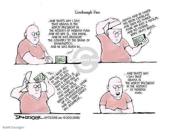 Cartoonist Jeff Danziger  Jeff Danziger's Editorial Cartoons 2012-01-16 Rush Limbaugh