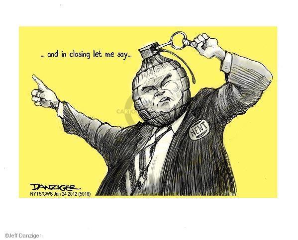 Cartoonist Jeff Danziger  Jeff Danziger's Editorial Cartoons 2012-01-24 republican politician