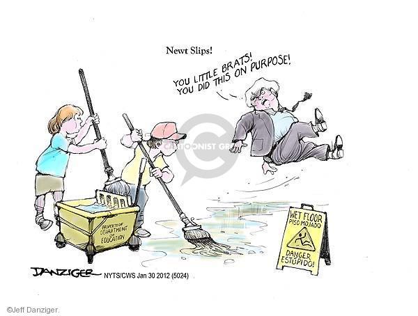 Cartoonist Jeff Danziger  Jeff Danziger's Editorial Cartoons 2012-01-30 Newt Gingrich
