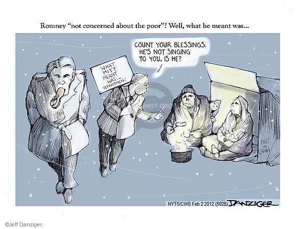 Cartoonist Jeff Danziger  Jeff Danziger's Editorial Cartoons 2012-02-02 poverty