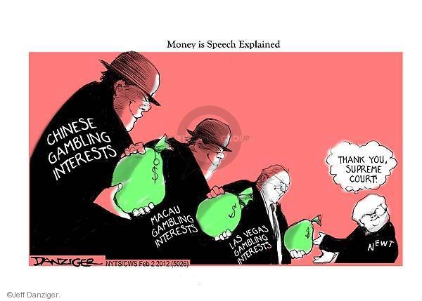 Cartoonist Jeff Danziger  Jeff Danziger's Editorial Cartoons 2012-02-02 Newt Gingrich