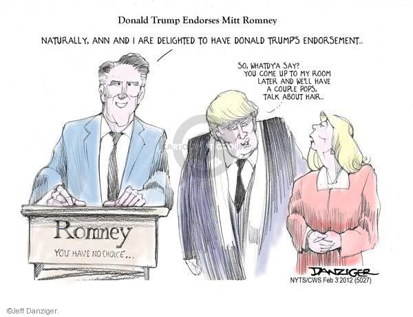 Cartoonist Jeff Danziger  Jeff Danziger's Editorial Cartoons 2012-02-03 endorsement