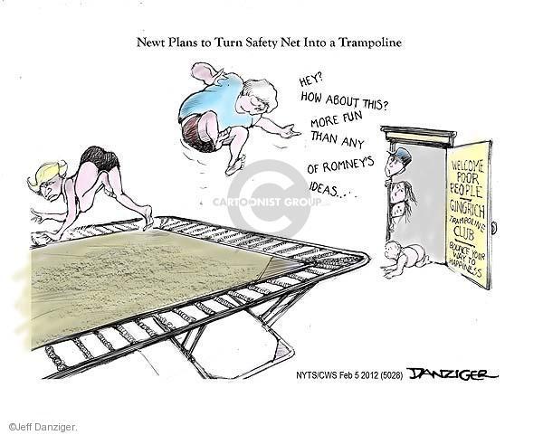 Cartoonist Jeff Danziger  Jeff Danziger's Editorial Cartoons 2012-02-05 Newt Gingrich
