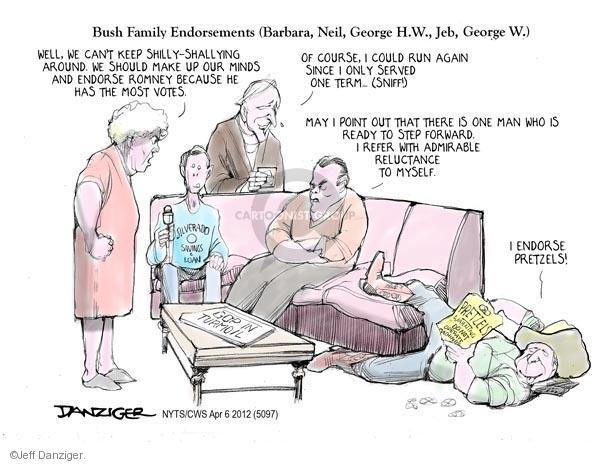 Cartoonist Jeff Danziger  Jeff Danziger's Editorial Cartoons 2012-04-06 endorsement