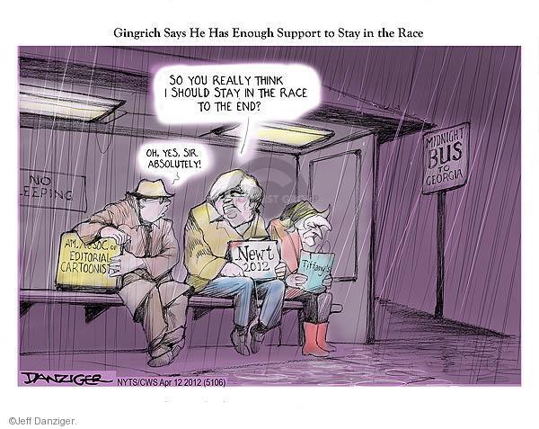 Cartoonist Jeff Danziger  Jeff Danziger's Editorial Cartoons 2012-04-12 candidates republicans