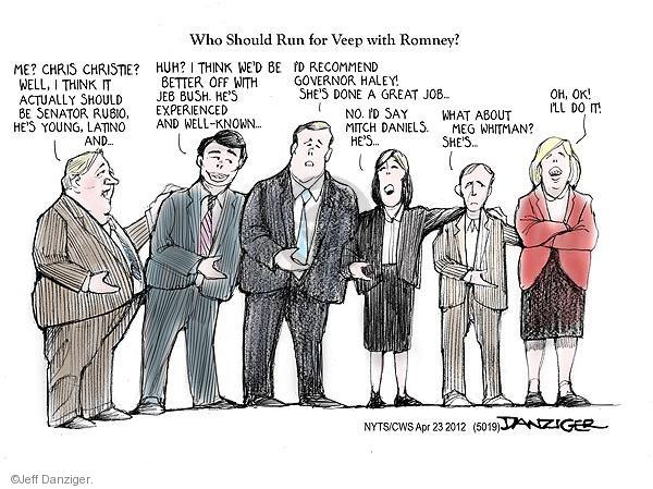 Cartoonist Jeff Danziger  Jeff Danziger's Editorial Cartoons 2012-04-23 endorsement
